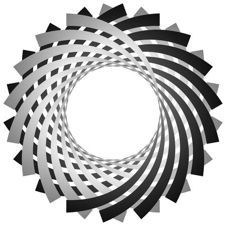 Circulaire, spirale cyclique, élément de vortex. Niveaux de gris forme tournante. Résumé illustration d'un tourbillon, tournoiement motif. Vecteurs
