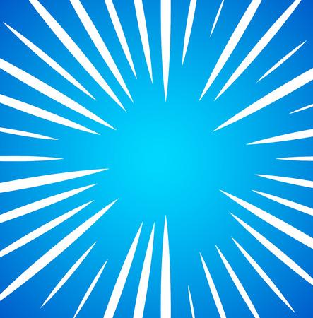 Irregular, random white radial, radiating lines over bright, vivid blue background. Simple sunburst pattern.