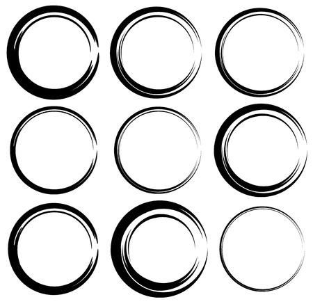 scrawl: Sketchy circles with hand-drawn effect. Set 9 grungy circles