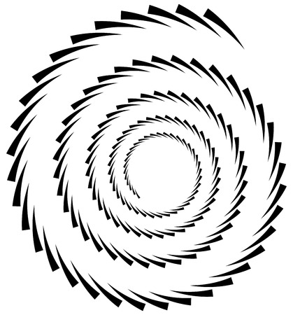 spire: Spiral element. Concentric swirling shape with lines rotating inwards. Helix, volute illustration.