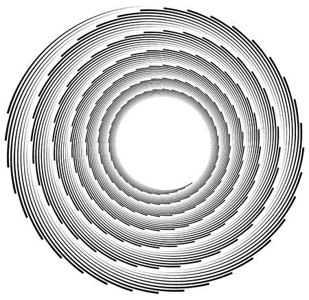logarithmic: Volute, helix element made of lines. Logarithmic spiral. Illustration