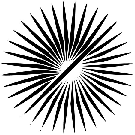 Radial, radiating lines. Asymmetrical geometric element. Circular, bursting lines Illustration