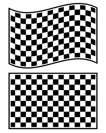 checked flag: Checkered racing flag elements isolated on white.