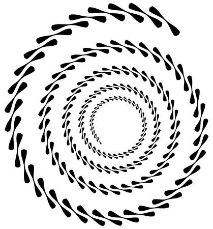 circulos concentricos: elemento en espiral. forma de remolino concéntrico con líneas que giran hacia el interior. Hélice, espiral ilustración.