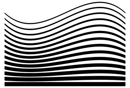 horizontal lines: Set of lines with different level of deformation. Abstract geometric illustration.