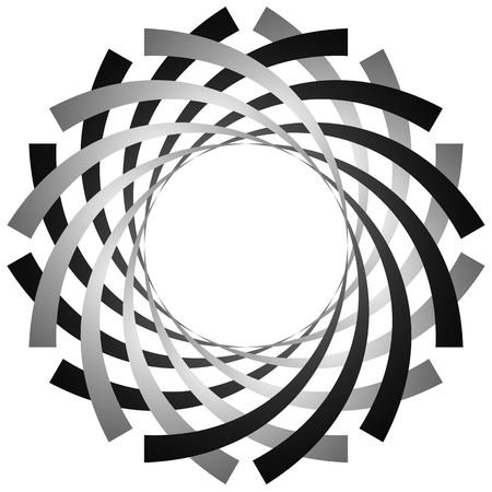 distort: Circular, cyclic spiral, vortex element. Grayscale rotating shape. Abstract  illustration of a swirl, twirl motif.
