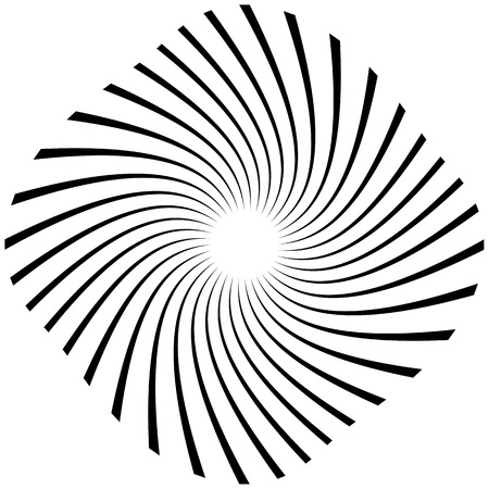 vertigo: Radial, radiating lines with rotation, spiral effect. Abstract element isolated on white. Illustration