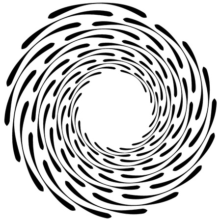 rotating: Spiral element. Concentric swirling shape with lines rotating inwards. Helix, volute illustration.