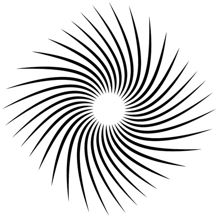 Radial, radiating lines with rotation, spiral effect. Abstract element isolated on white. Illustration