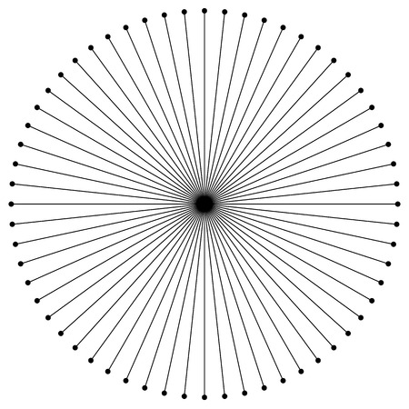lignes circulaires radiales avec des points. Rayonnant lignes. Abstrait élément géométrique.