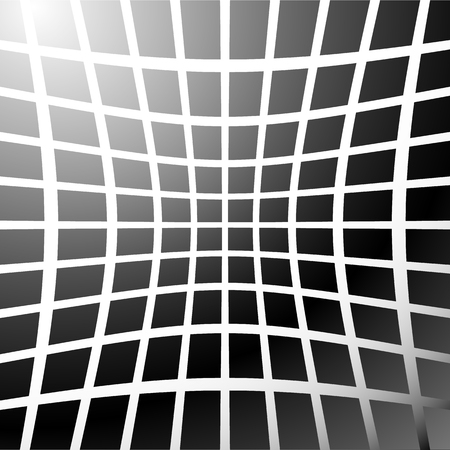 distort: Mosaic, grid of squares with distortion effect. Abstract grayscale pattern. Illustration
