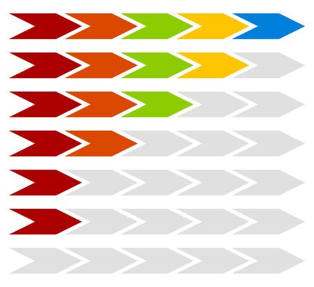 horizontal lines: Progress, step, level indicators with 5 steps arrows