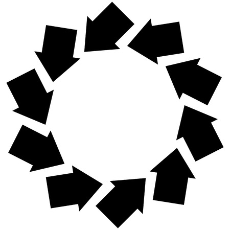 Concentric arrows symbol to illustrate rotation, gyration, torsion, turning concepts