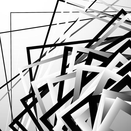 chaotic: Random chaotic squares abstract geometric element. Monochrome geometric art.