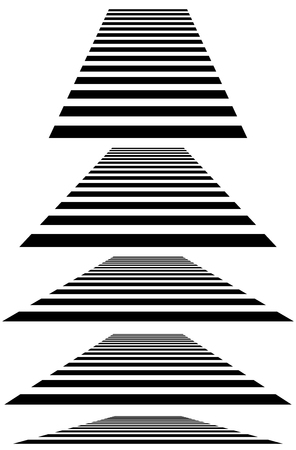 3 point perspective: Lines in different level of perspective. 3d stripes, lines elements Illustration