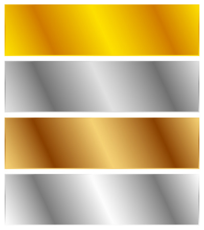 platinum metal: Gold, silver, bronze and platinum banners with shade effect. Blank rectangle metal sheets, plates Illustration