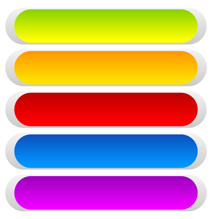 Button or banner backgrounds, tags, labels in 5 color Illustration