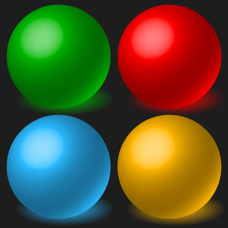 spatial: Set of 4 spheres with glowing shadow. Spatial, 3d balls, orbs.