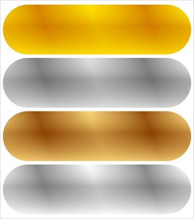 Gold, silver, bronze and platinum banners with shade effect. Blank rectangle metal sheets, plates Illustration