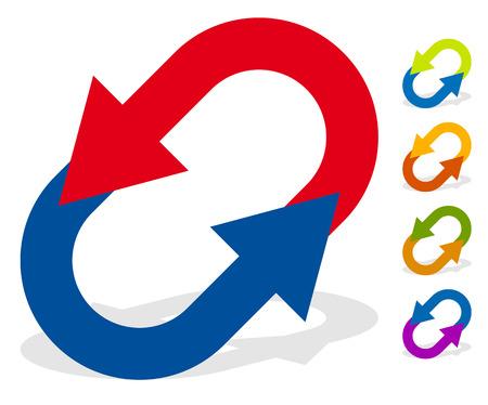Circular arrows for change, reset, swap, turn, exchange concepts 일러스트