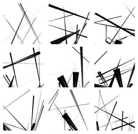 Random lines artistic element  pattern set. Non figural monochrome geometric compositions.
