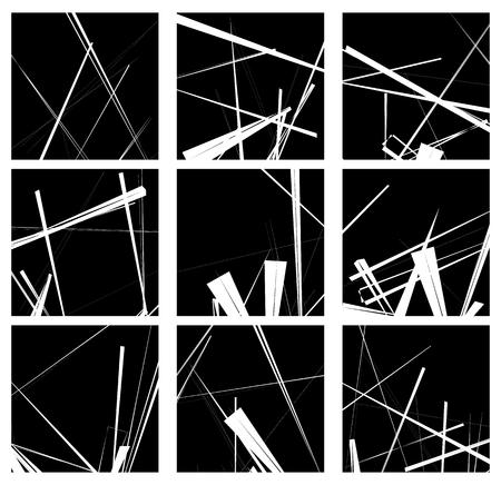 figural: Random lines artistic element  pattern set. Non figural monochrome geometric compositions.