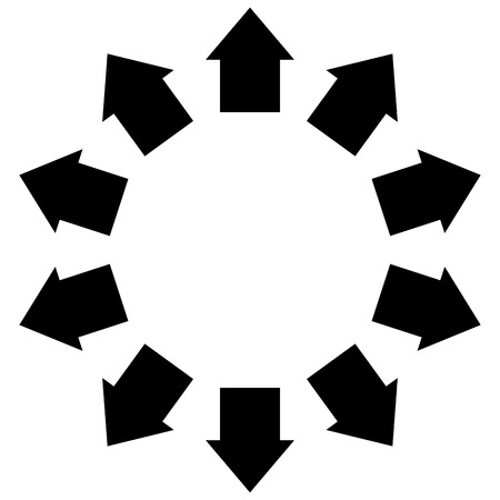epicentre: Group of arrows following a circle pointing outwards