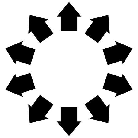 Gruppo di frecce a seguito di un cerchio di puntamento verso l'esterno