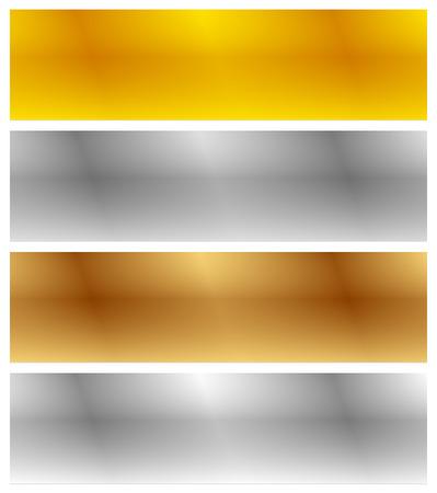 Oro, plata, bronce y las banderas de platino con efecto cromático. hojas de metal del rectángulo en blanco, placas Ilustración de vector