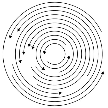 circular arrows: Circular arrows - Random concentric circles with arrows for twist, rotation, centrifuge, cycle concepts.