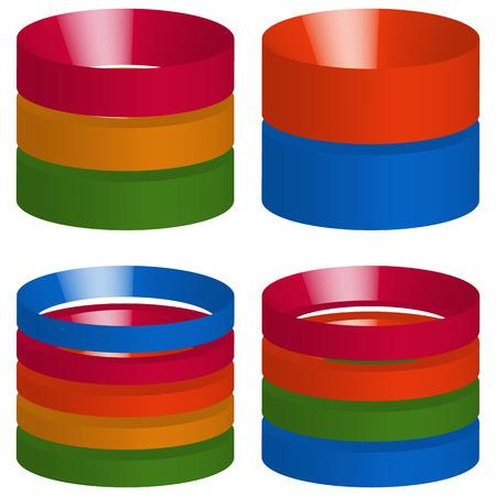 barchart: Multicolor segmented 3d cylinders, cylinder icons. Elements for levels, multilevel, chart - graph usage Illustration