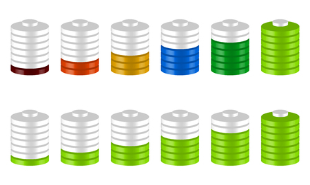sequence: 3d battery level indicators in sequence. Green and multicolor version