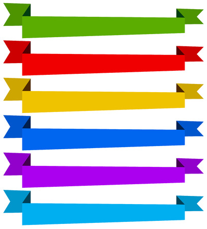 ribon: Banner  ribbon templates in dynamic style. 6 colors. Illustration