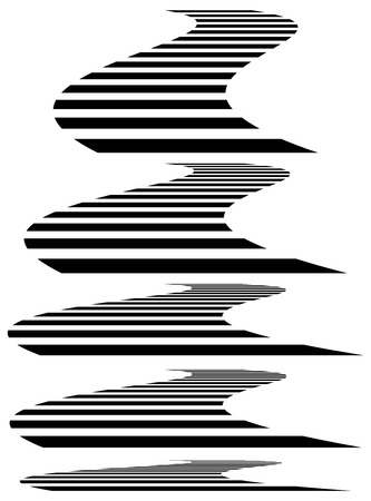 squeeze shape: Lines in 3d perspective. Vanishing lines, stripes with distortion effect.