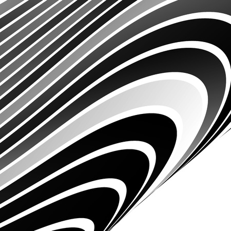 billow: Distorted, warped lines geometric monochrome pattern. Black and white distorted shapes