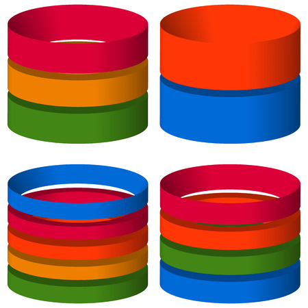 multi layered: Multicolor segmented 3d cylinders, cylinder icons. Elements for levels, multilevel, chart - graph usage Illustration