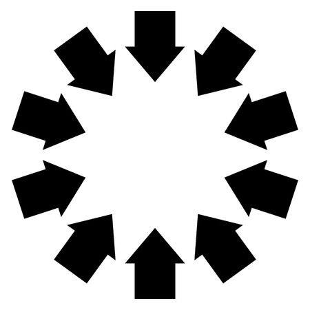 convergence: Group of arrows following a circle pointing inwards Illustration