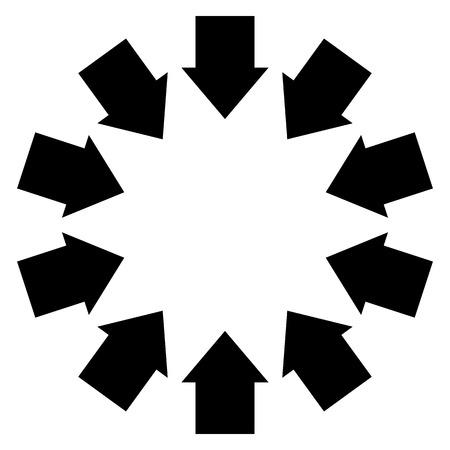 inwards: Group of arrows following a circle pointing inwards Illustration