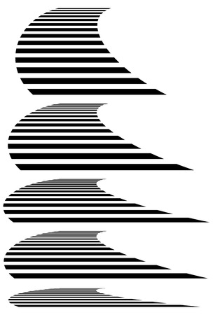 3 point perspective: Lines in 3d perspective. Vanishing lines, stripes with distortion effect.