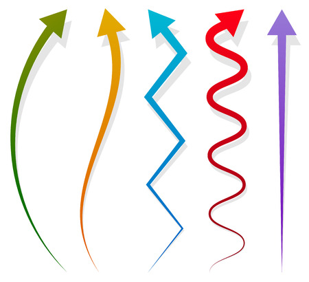 Set of 5 different long, vertical arrow elements with shadow