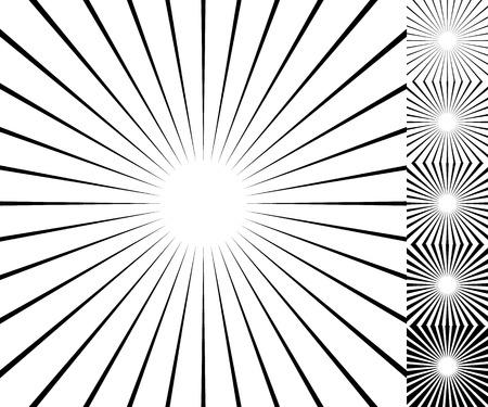 thickness: Starburst  sunburst background element set. 6 thickness.