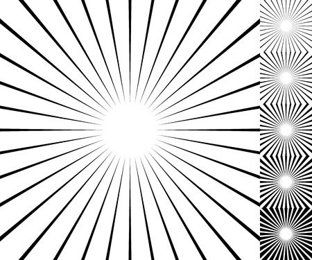 Starburst  sunburst background element set. 6 thickness.