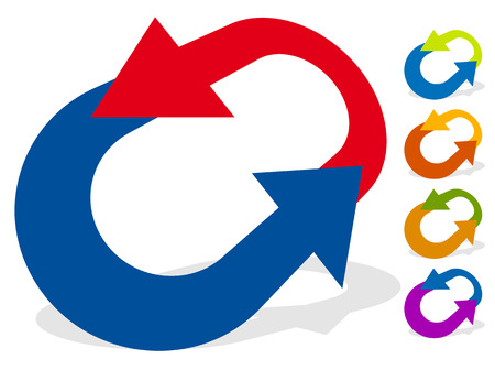 Circular arrows for change, reset, swap, turn, exchange concepts Vectores