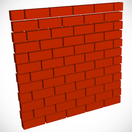 bricklaying: Wall in perspective. Brickwall for construction, building or obstacle related themes Illustration
