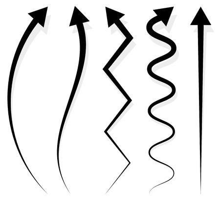 シャドウと 5 つの異なる長い垂直矢印要素のセット  イラスト・ベクター素材