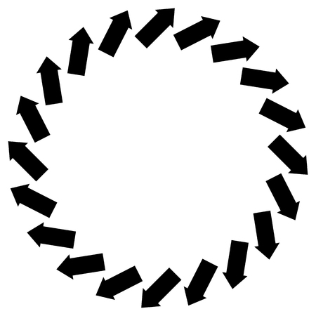 circulate: Concentric arrows symbol to illustrate rotation, gyration, torsion, turning concepts
