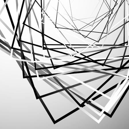 eccentric: Random chaotic squares abstract geometric element. Monochrome geometric art.