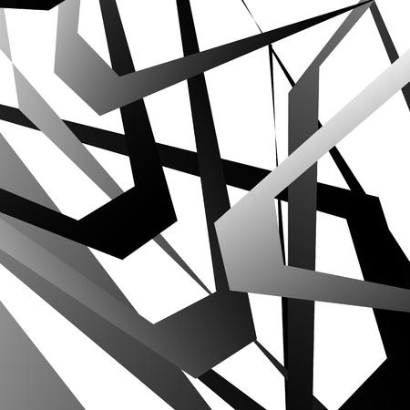 Motif géométrique abstrait noir et blanc, texture avec des formes qui se chevauchent Vecteurs