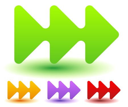locate: Triple, 3 arrows in more colors. Locate, fast forward, fastness concepts. Colorful arrow shapes, arrow elements.