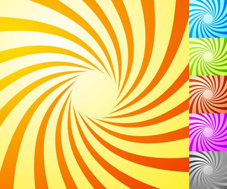 Spiral starburst, sunburst background set. Lines, stripes with twirl, rotating distortion effect. 5 colors. Illustration